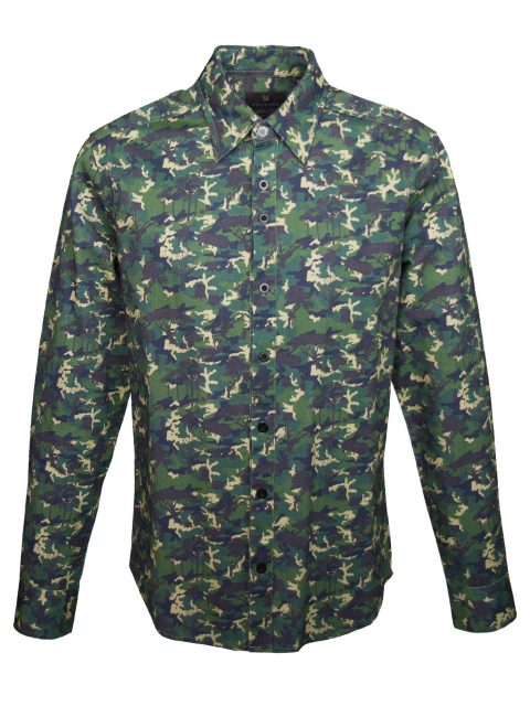 UBERMEN Printed Long Sleeve Shirt - GREEN SILENT