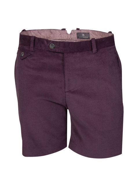 UBERMEN Purple Corduroy Above Knee Cotton Shorts - MAJESTIC