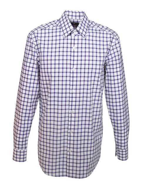 UBERMEN Purple Gird Checked Long Sleeve Shirt - OPACITY
