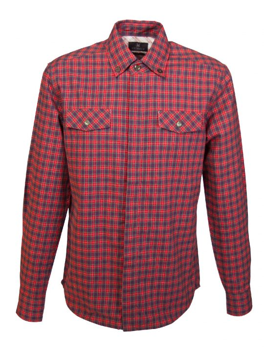 UBERMEN Red Checked Flannel Long Sleeve Shirt - EDGE