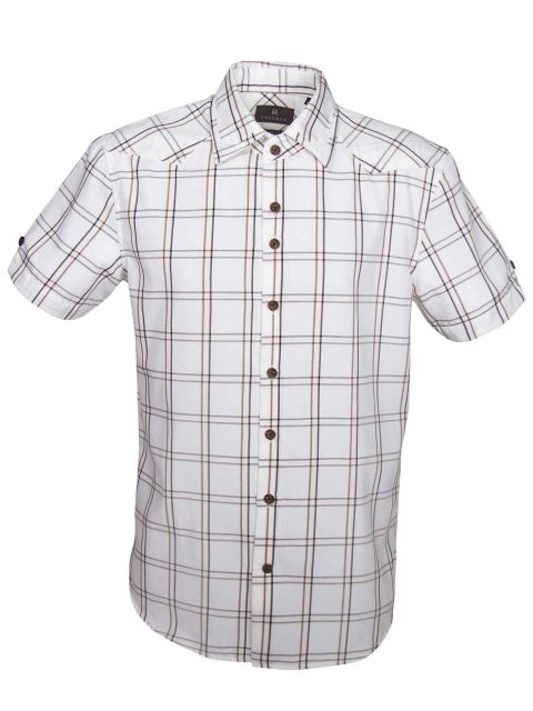 UBERMEN-White-and-Brown-Grid-Checked-Short-Sleeve-Shirt - ANTON
