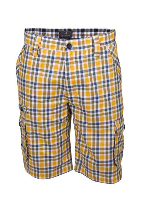 UBERMEN Yellow Checked Knee Length Short - POINT