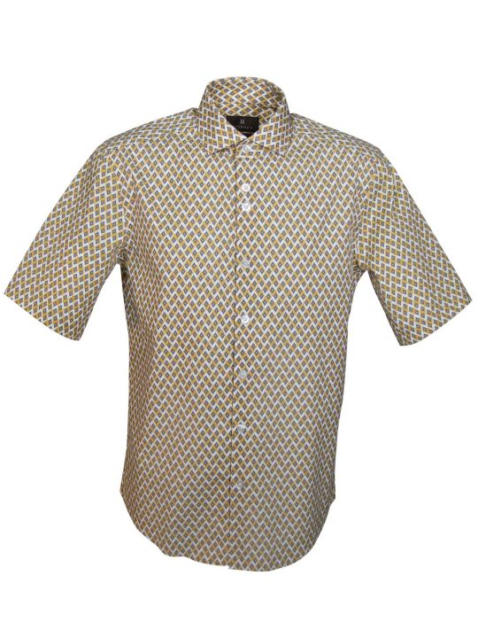 UBERMEN-Yellow-Printed-Short-Sleeve-Shirt---DAGOBERT