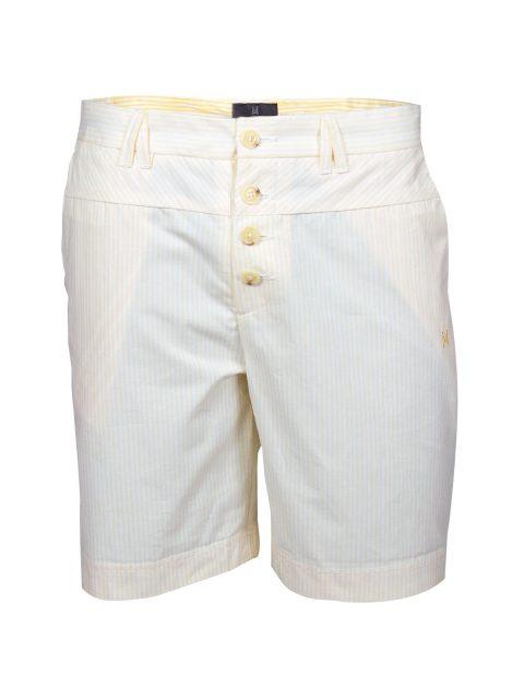 UBERMEN Yellow Stripe Above Knee Cotton Shorts - LIQUID GOLD