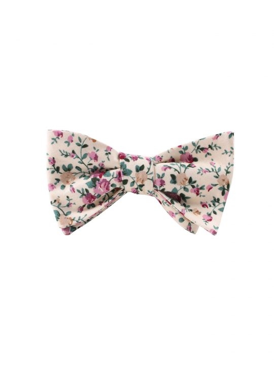 10-AUS-CUFFINKS-BOWTIES-Pastel-Pink-Rose-Floral-Self-Tie-Bow-Tie-and-Pocket-Square-1
