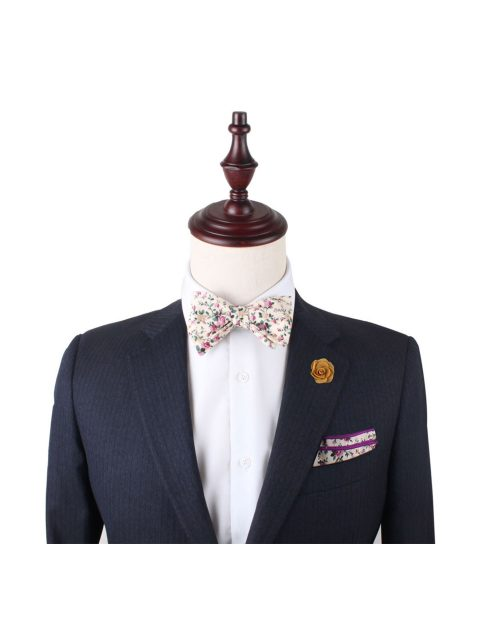 10-AUS-CUFFINKS-BOWTIES-Pastel-Pink-Rose-Floral-Self-Tie-Bow-Tie-and-Pocket-Square-2