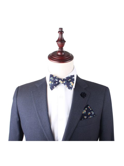 11-AUS-CUFLLINKS-BOWTIES-Floral-Navy-Yellow-Self-Tie-Bow-Tie-2