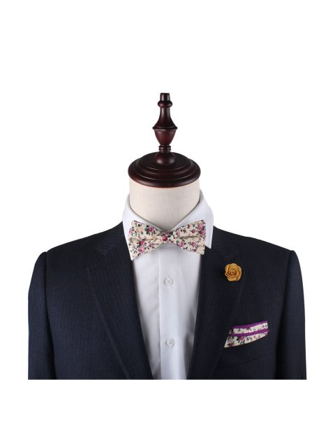 12-AUS-CUFFLINKS-BOWTIES-Pastel-Pink-Rose-Floral-Bow-Tie-and-Pocket-Square-2