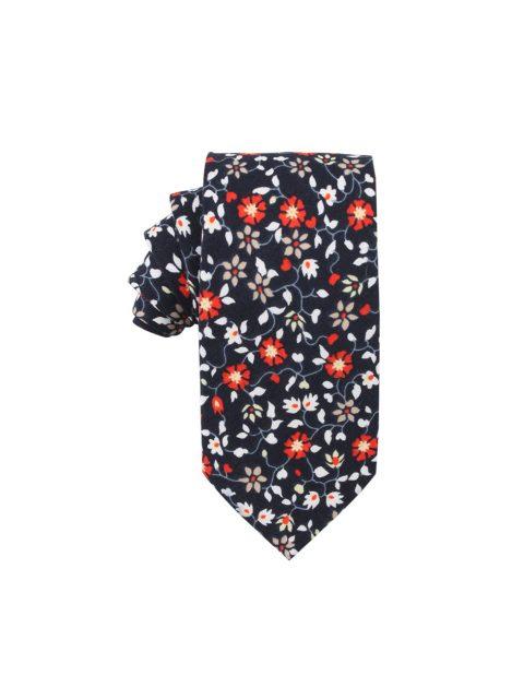 42-AUS-CUFFLINKS-TIES-Black-Red-Amaryllis-Floral-Tie-1