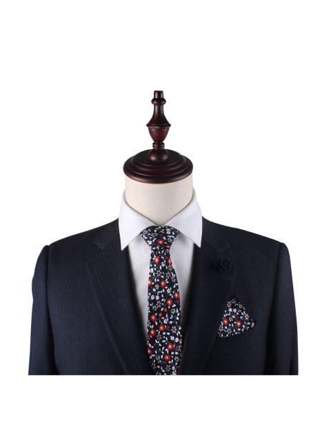 42-AUS-CUFFLINKS-TIES-Black-Red-Amaryllis-Floral-Tie-2