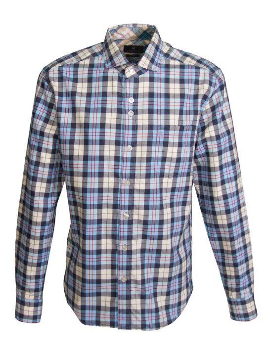 UBERMEN-Light-Blue-Checked-Flannel-Long-Sleeve-Shirt---OUTSTANDING