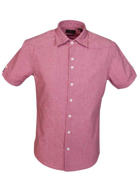 UBERMEN-Pink-Linen-Short-Sleeve-Shirt---YVES