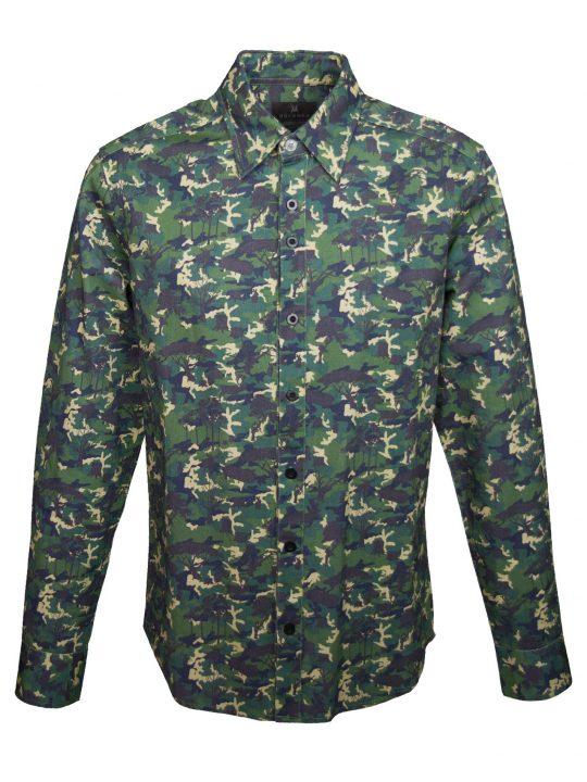 UBERMEN Printed Long Sleeve Shirt - GREEN SILENT